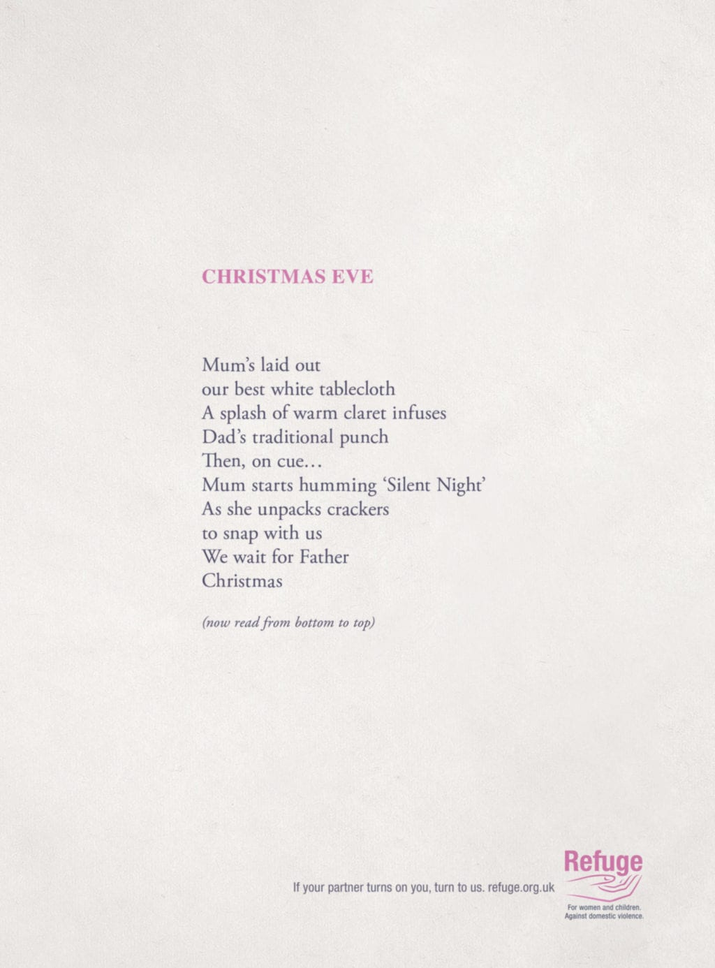 Refuge turns Christmas upside down with reversible poems