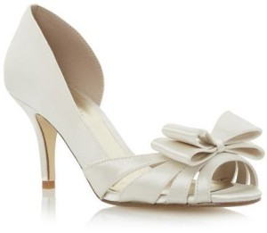 Roland Cartier Ladies DELOMA - IVORY Bow Trim Semi D'Orsay Court Shoe WAS £49 NOW £19
