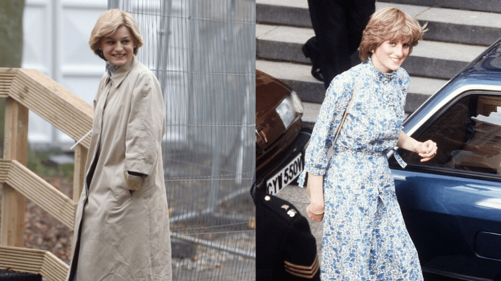 Emma Corrin's First Look In Princess Diana's Wedding Dress Rehearsel In The Crown S4 Revealed