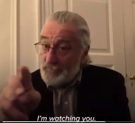 'I'm Watching You.' Robert De Niro Asks Everyone To Stay Home During Corona Virus Epidemic
