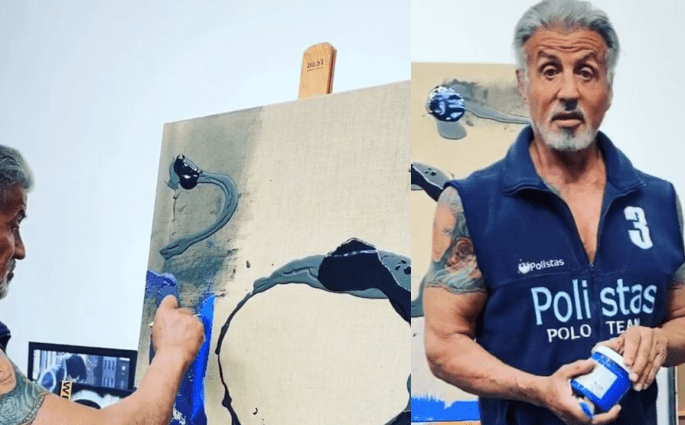 Sylvester Stallone Shows His Painting Skills