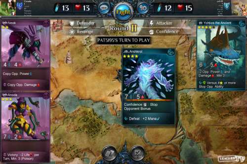Gameplay screenshot. The card in the top right corner is the latest Epic for the Abyss faction.