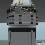 A command module ready for launch.  This command module has been designated as a rescue command module that would be used in the event of a failure resulting in a crew being unable to return to Kerbin.