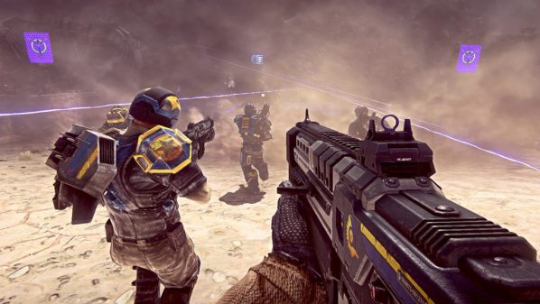 New Conglomerate infantry move under the concealment provided by smoke grenades between cover during a firefight against the Vanu Sovereignty. The use of team tactics such as smoke concealment are what set Planetside 2 apart from a lot of other first person shooters.