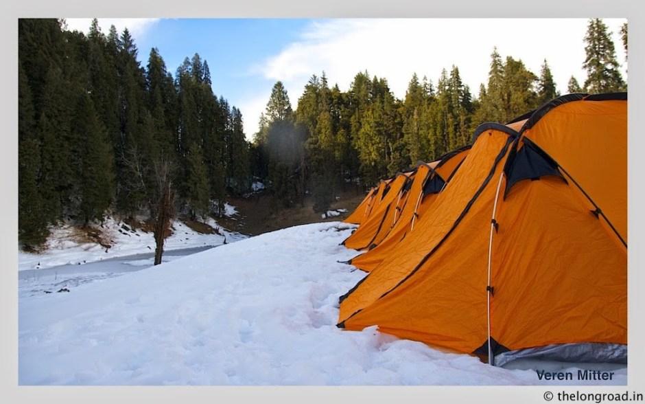 A view of tents at Juda ka talab Uttarakhand India. kedarkantha trek