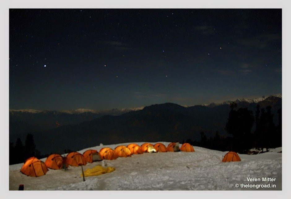 View of kedarkantha base camp early in the morning. Trek day 3