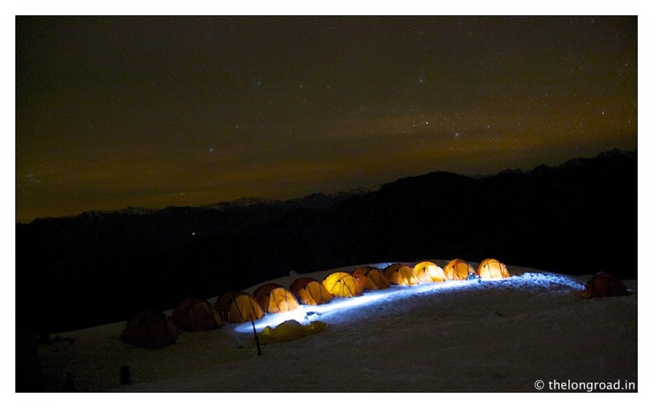 View of Kedarkantha trek base camp at 4 am in the morning. Trek day 3