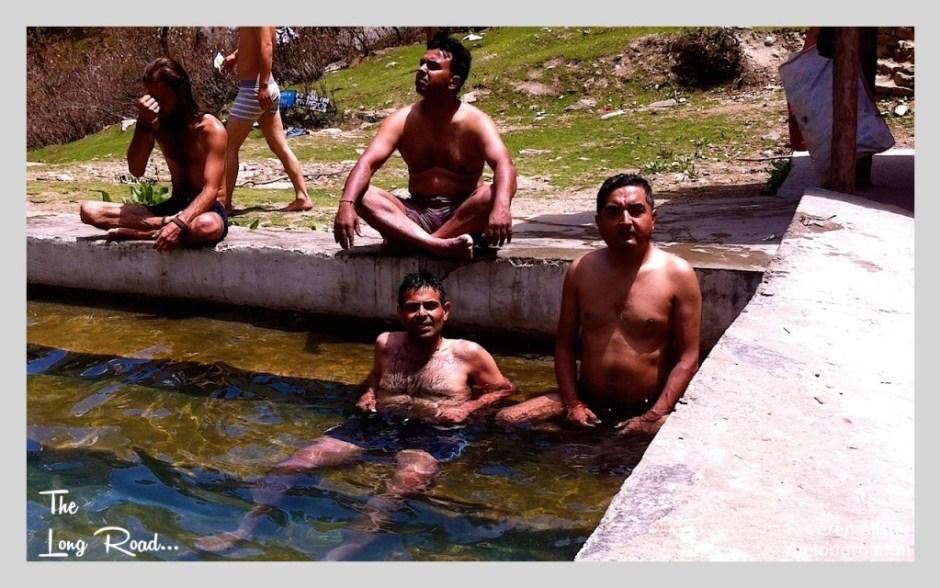 Bathing at Hot water pool at KHEERGANGA