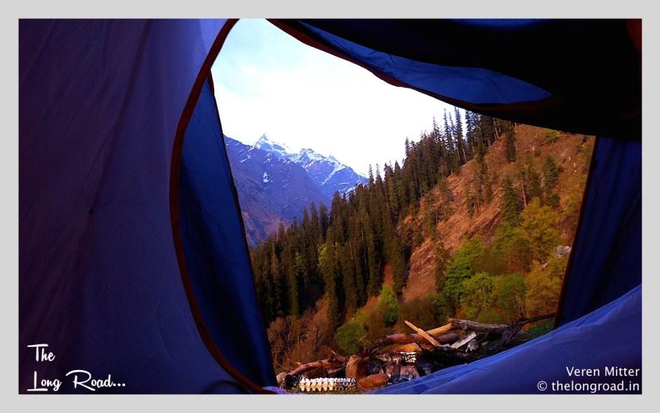 View of Kheerganga from inside tent