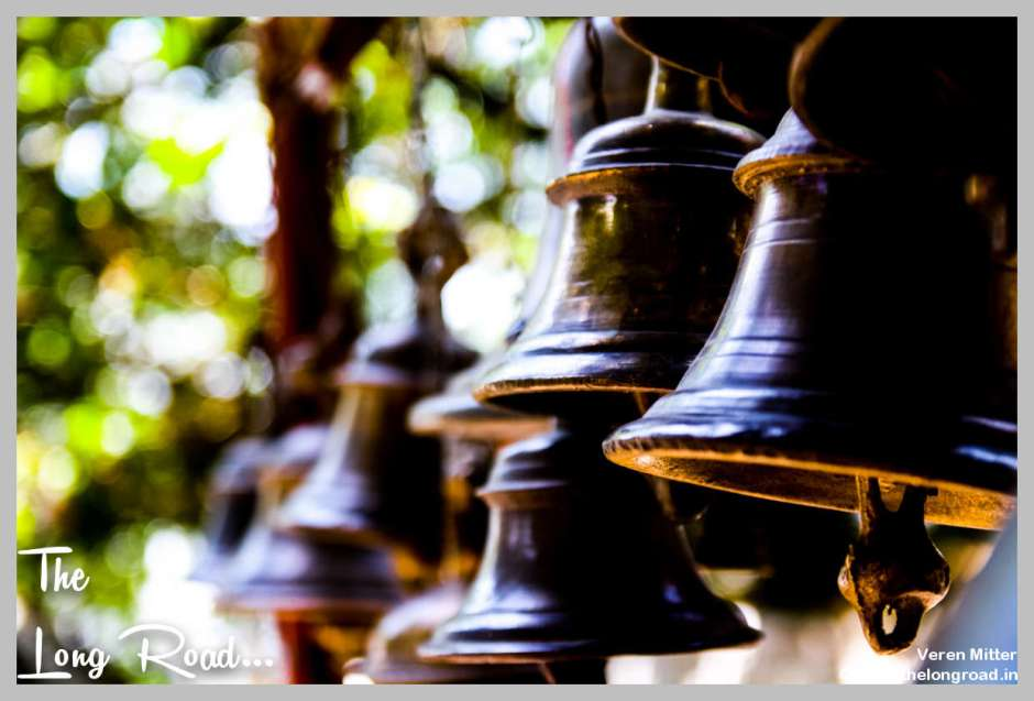 Bells in a row at temple Kumaon uttarakhand Himalaya India