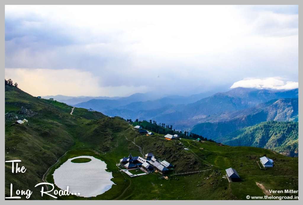 Prashar lake and temple view from top.