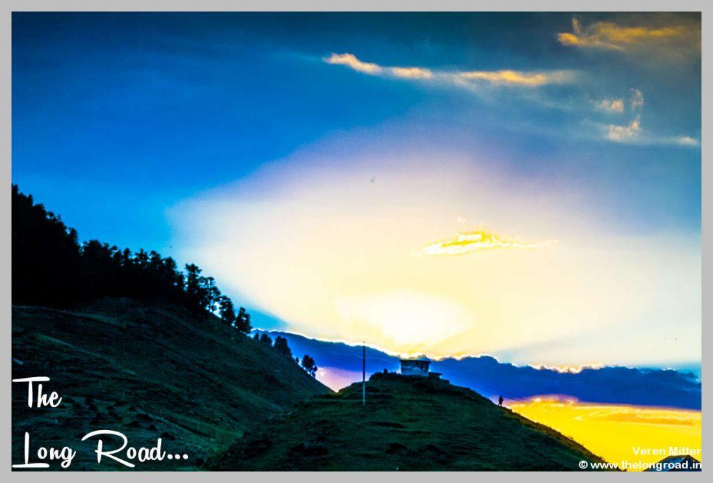 Twilight sky at Prashar lake temple photography