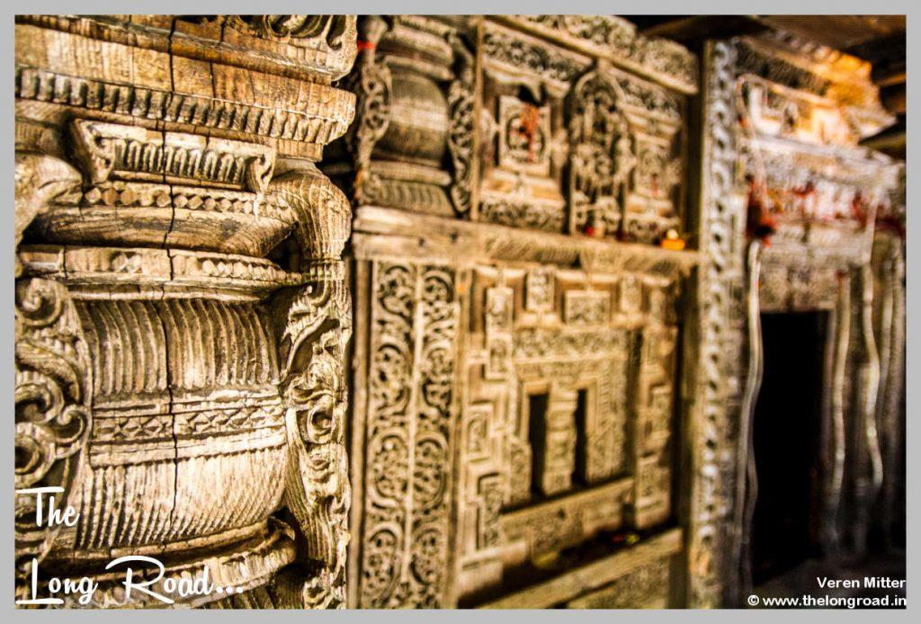 Prashar temple wooden walls carving.