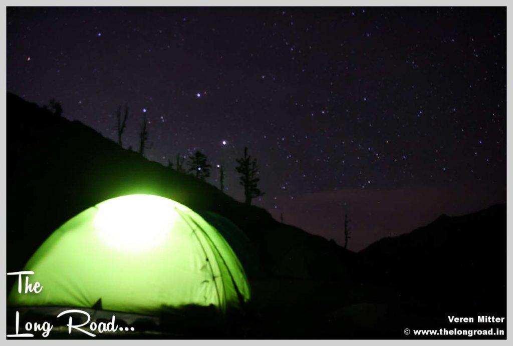 Kareri lake site at midnight