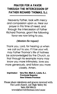 Fr Thomas prayer card, back