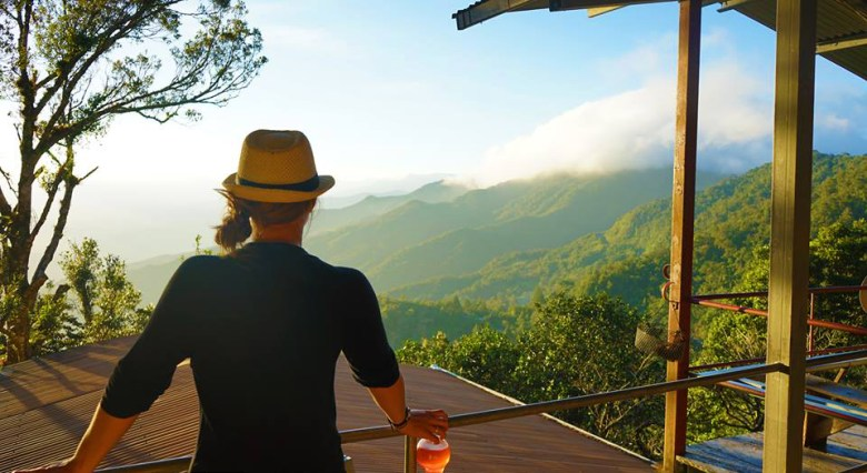 Sunset view from the Lost and Found Lodge in Panama.