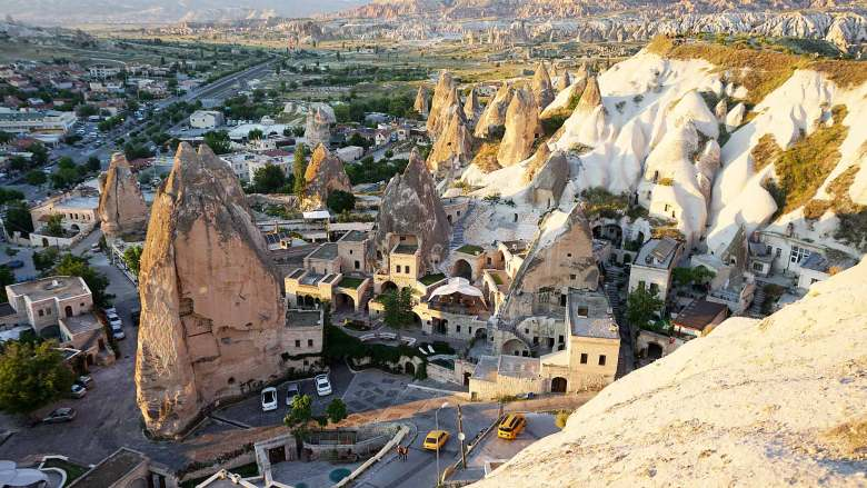 Elevated view of fairy chimney in Cappadocia, Turkey