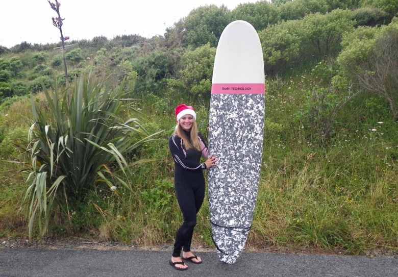 I spent the days leading up to Christmas surfing at Raglan. Consequently, I blistered my face with a sunburn in the water.