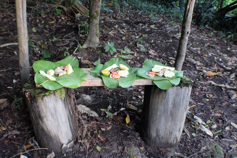 A simple but delicious supper served up on banana leaves.