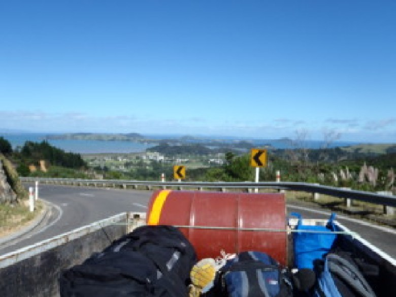 We got a ride in the back of a pickup truck with an amazing view, and we also had tea with the man who picked us up.
