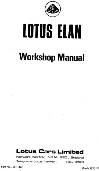 Lotus Elan Workshop Manual 1962-73