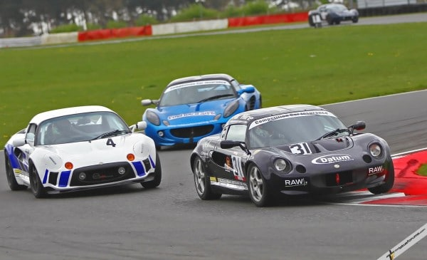 Jack Goff leads Fulvio Mussi and Adam Gore in the Elise Trophy race. Gore and Mussi took the wins