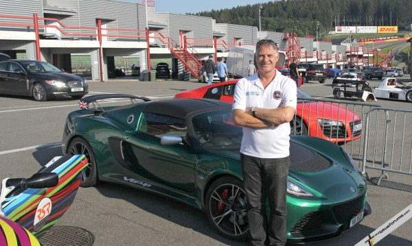 Ron after a spin in the Exige V6 Cup. Not literally thank goodness, that's my own personal car!