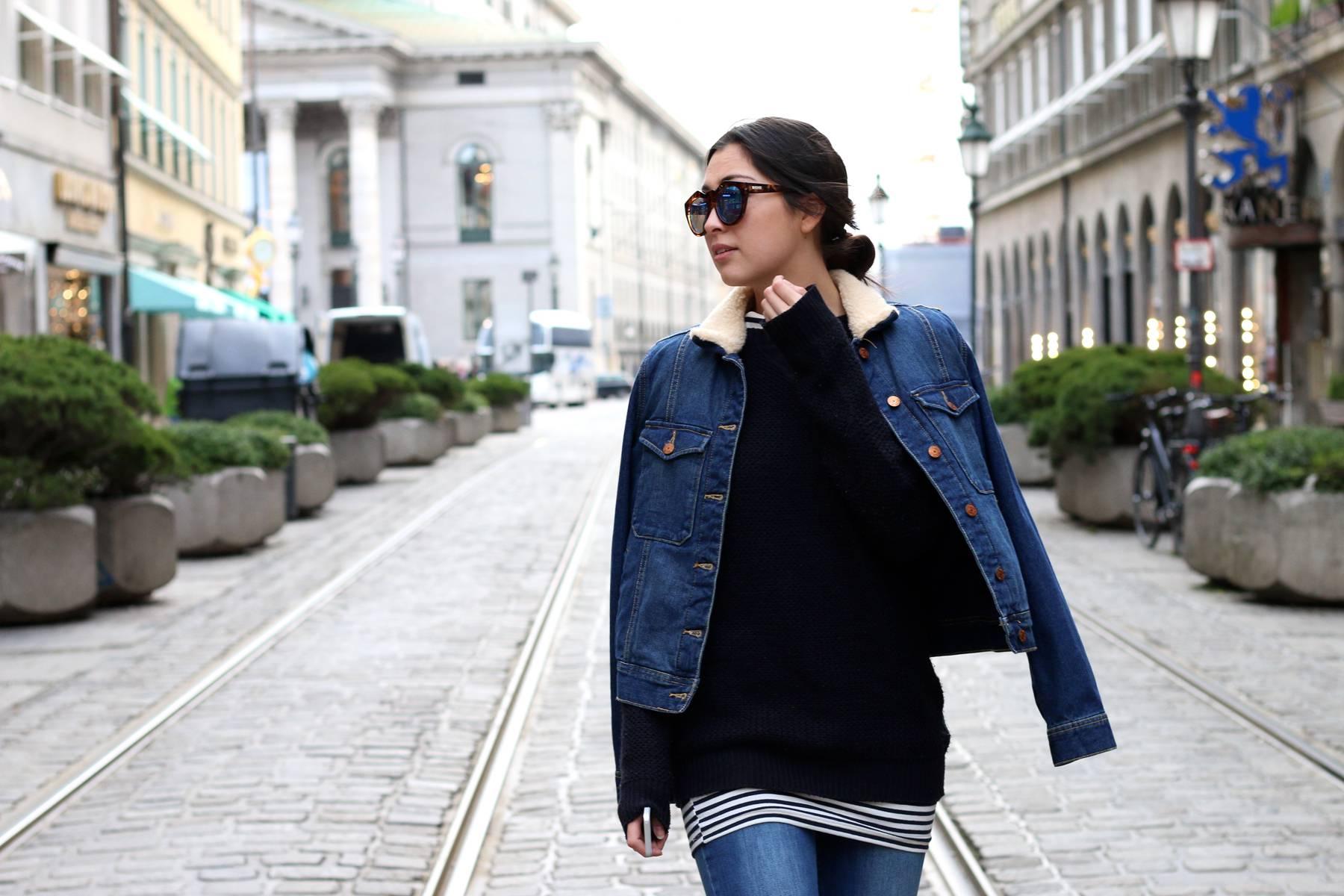 streetstyle - munich - inspiration - german fashionblog - fashionista - style - flared pants - schlaghose - denim trend - denim jacket - buffalo heels - le specs sunnies - ootd - lookbook - marienplatz