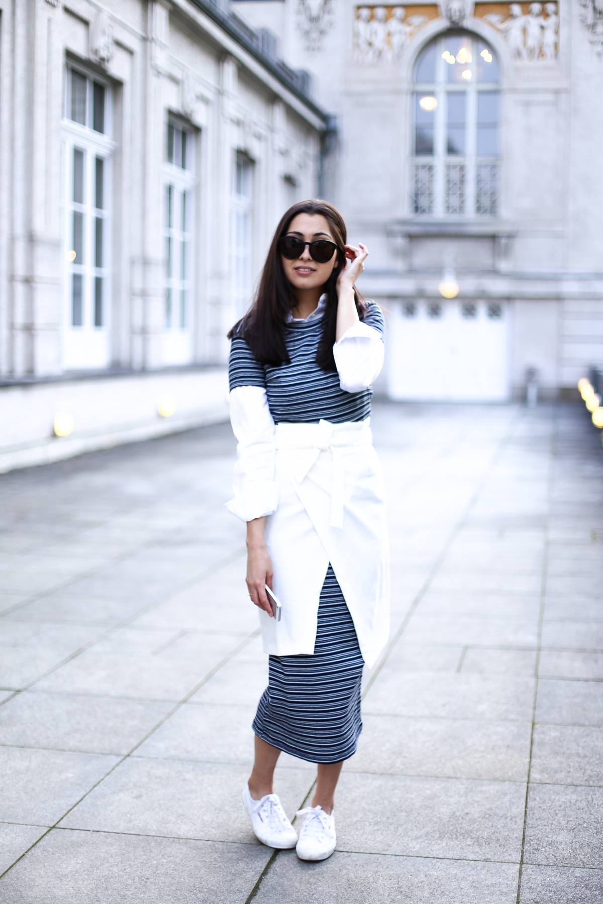 THE STRIPED MIDI DRESS