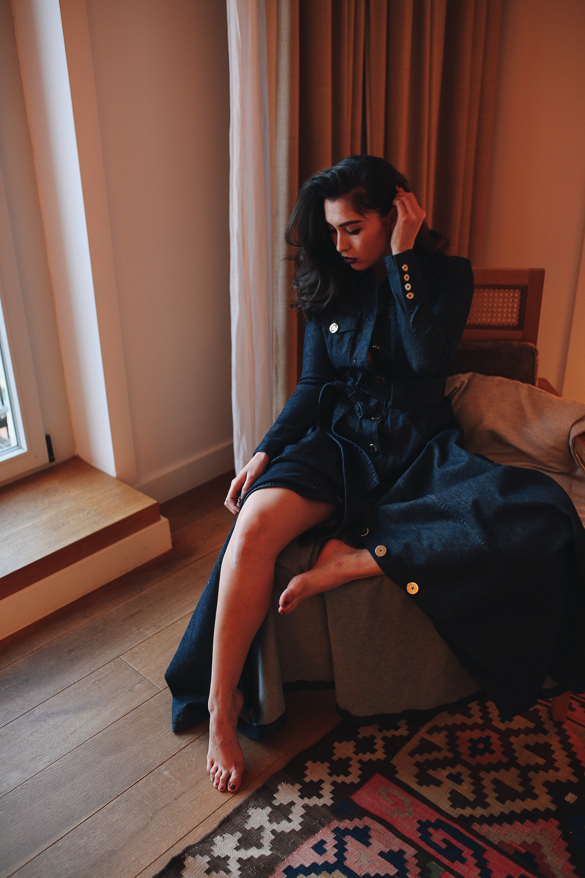 Louis Hotel München-Denimkleid-Talbot Runhof-Prefall Collection-Editorial-Tamara Cueva-The Loud Couture