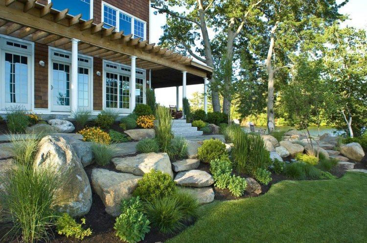 Landscaping rocks in a flower bed