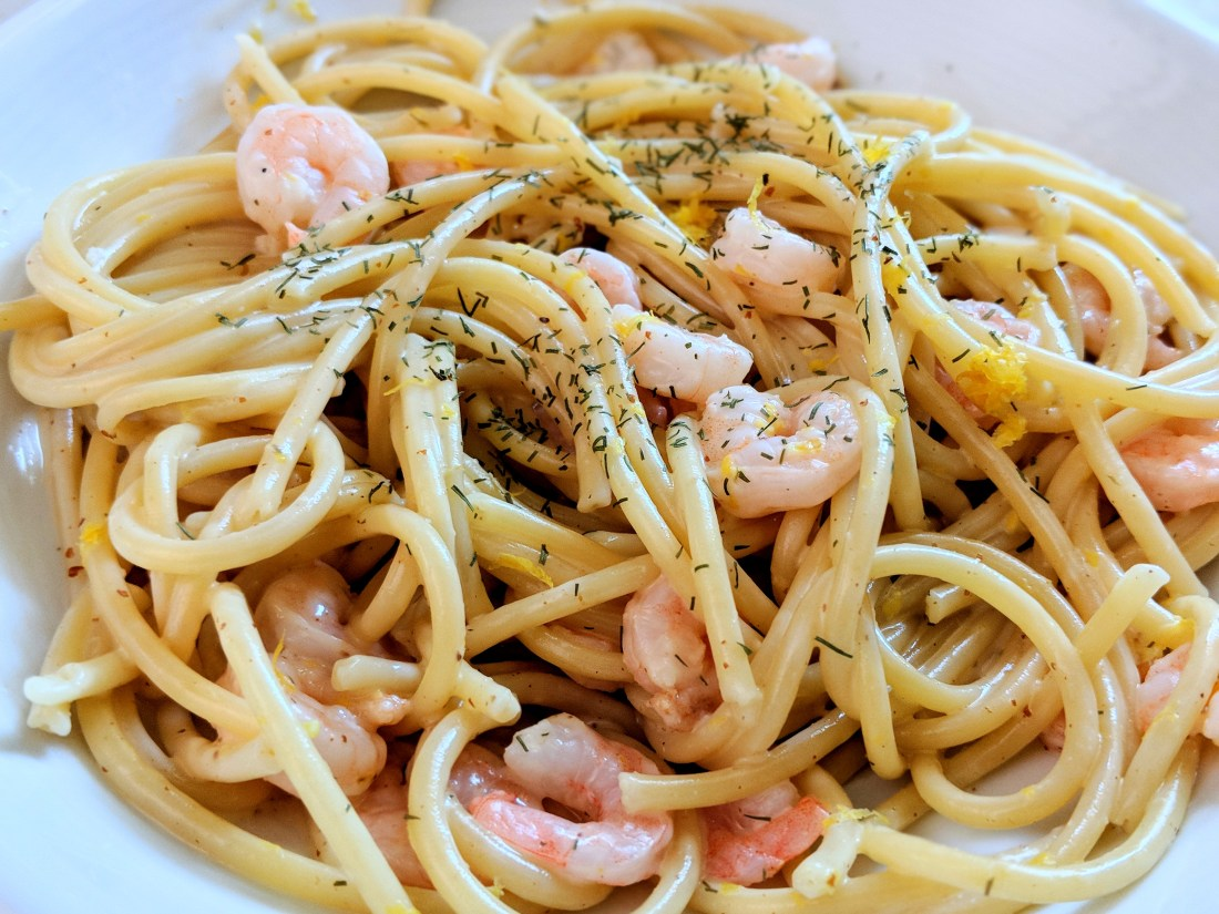 Bucatini with Shrimp & Lemon Dill Aioli