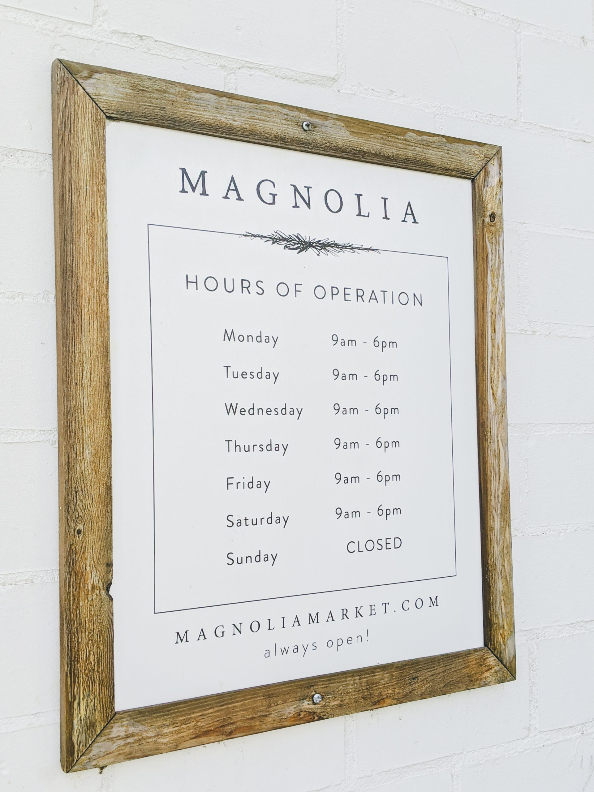 magnolia silos hours of operation sign