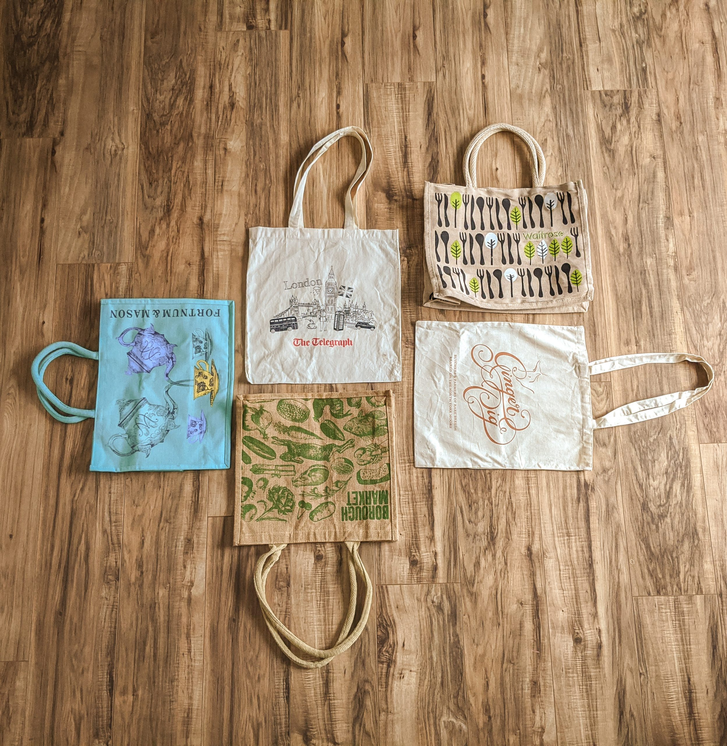 reusable tote bags from ginger pig, telegraph, market, waitrose, and fortnum and mason in London