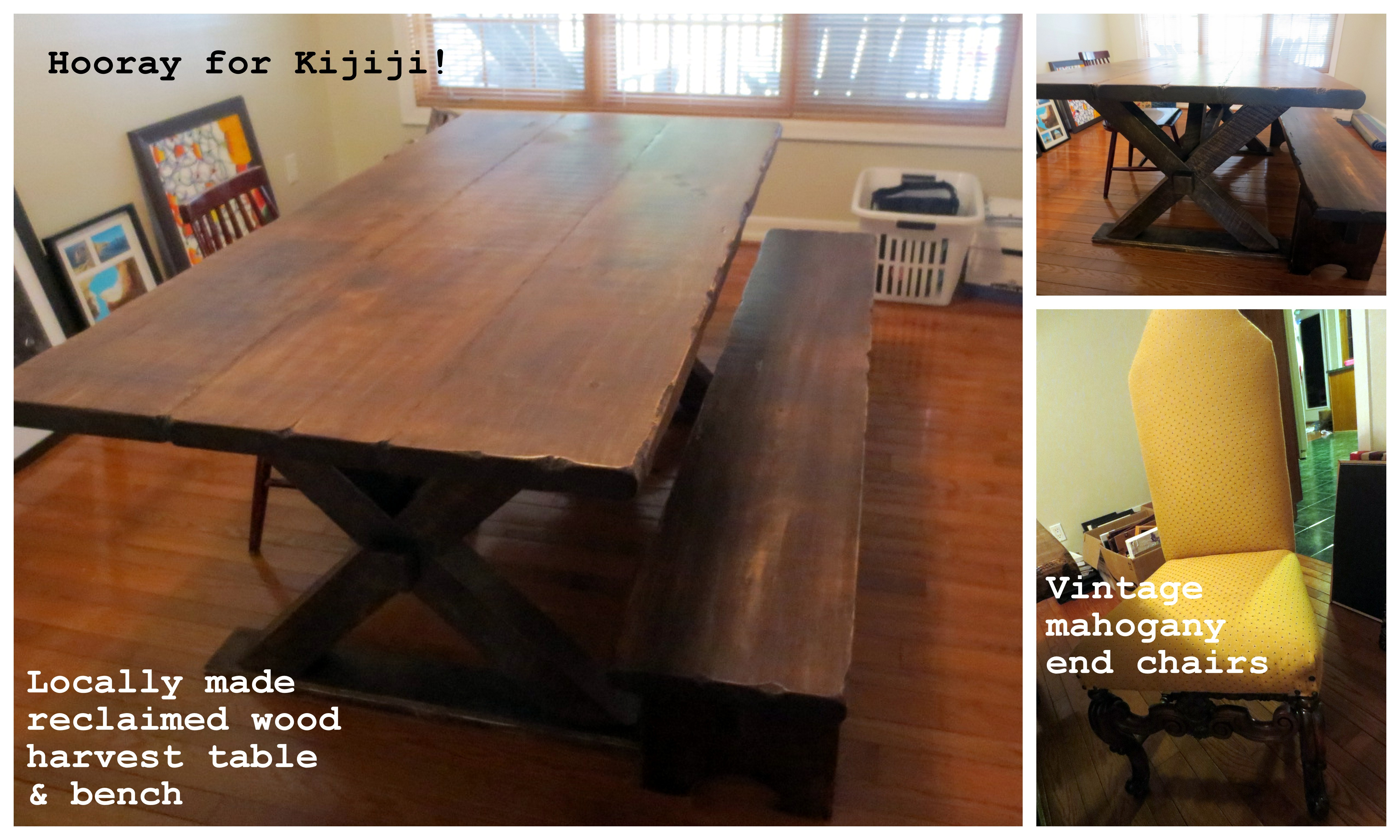 ottawa harvest table reclaimed wood local vintage barnboard mahogany chairs