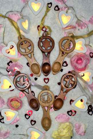 Set of Six Christmas Tree Lovespoon Decorations