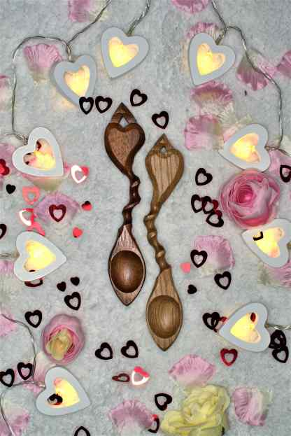 Pair of Spooning Lovespoons
