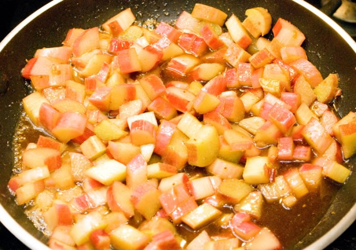 Rhubarb Added to Hot Caramel Sauce