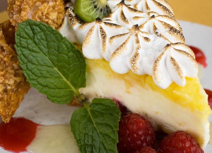 Tonto Lemon-Lime Sour Cream Meringue Pie with Raspberries & Kiwi in an Almond Crust