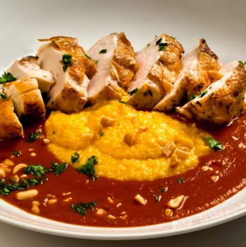 Breast of Chicken with Fiery, Fruity Guajillo Sauce