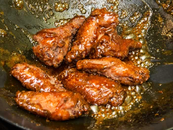 Glazing Vietnamese Chicken Wings