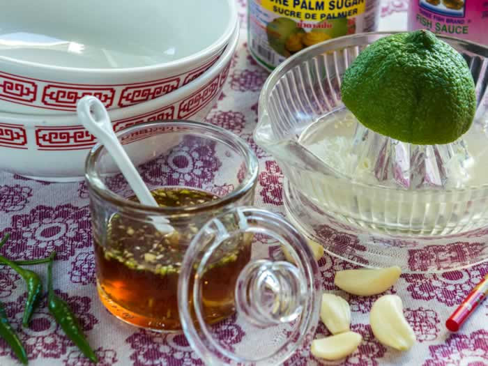 Ingredients for Vietnamese Dipping Sauce (Nuoc Cham)