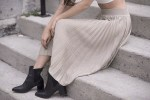 White Crops and Beige Pleats