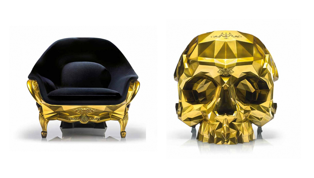 skull chair handicap shower chairs with arms gothic luxe gold by harow theluxecafe