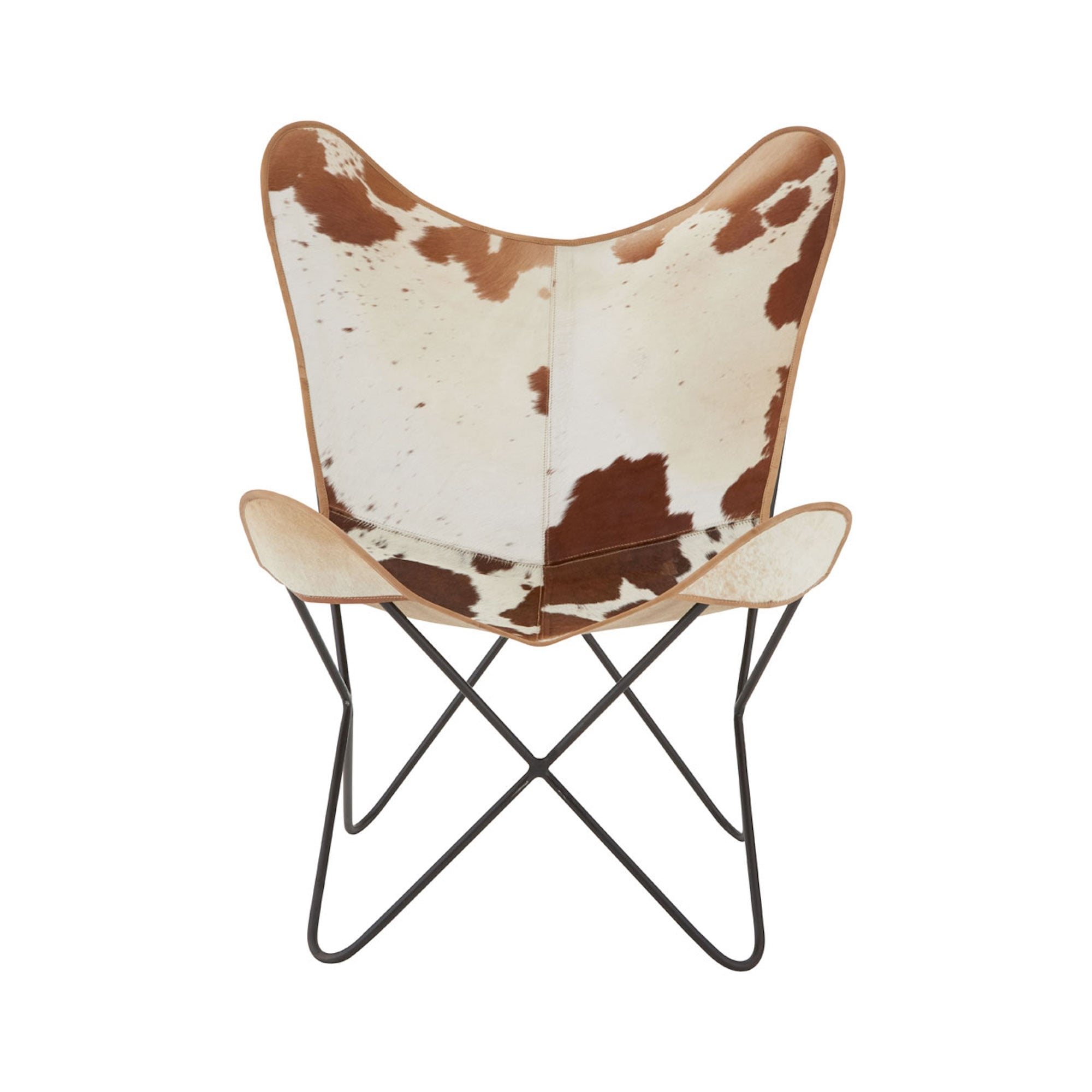 cowhide chairs uk bean bags target brown cow hide leather butterfly chair with iron frame