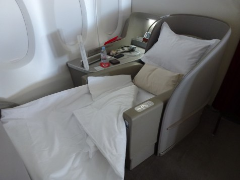 Air France First Class A380 - Seat turned into bed