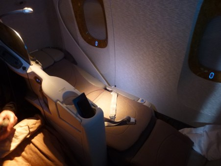 Emirates Business Class - Seat turned into bed