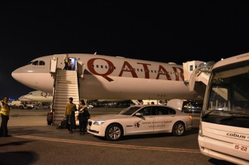 Qatar Airways First Class - Arrival on limousine