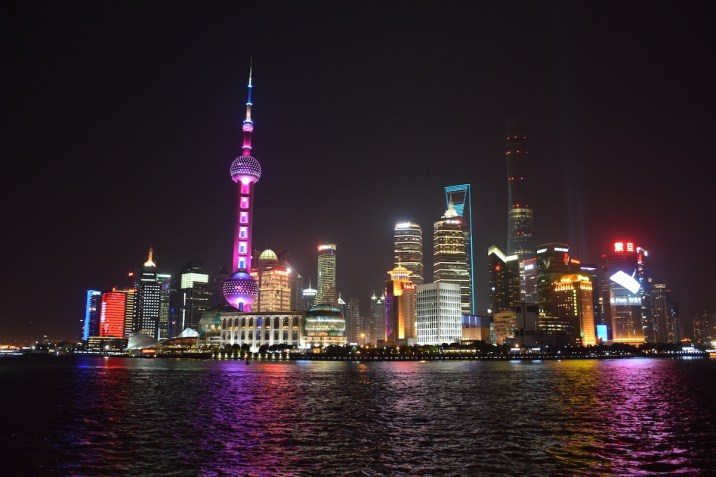 Tour of China - Shanghai Pudong, skyline by night