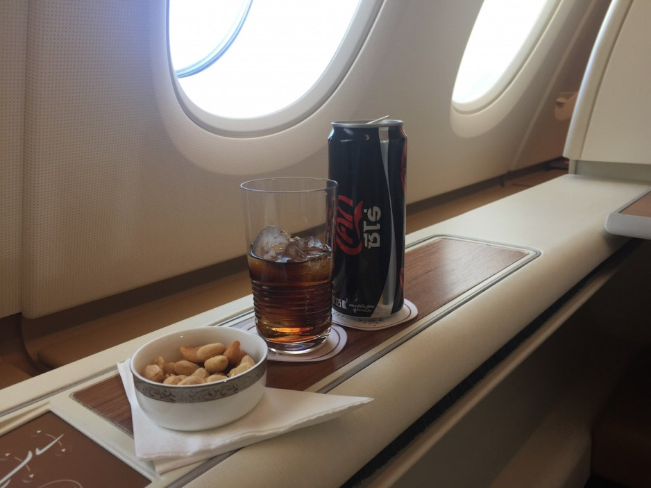 Thai Airways A380 Royal First Class - After take-off drink